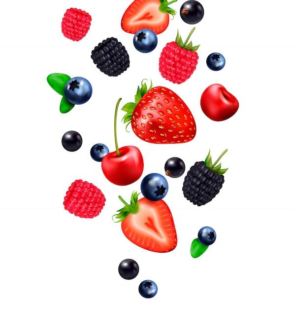Composition Réaliste De Fruits Tombant Avec Des Images De Fruits Tombant Et De Tranches De Fraise Sur Fond Blanc Vecteur gratuit
