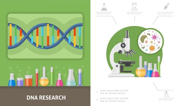 Composition De Recherche Génétique Plate Avec Structure D'adn Flacons D'essai De Laboratoire Tubes Cellules De Microscope Vecteur gratuit