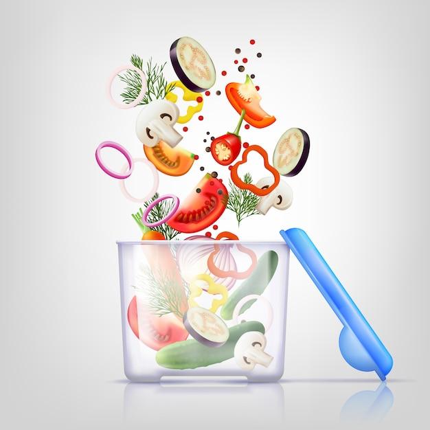 Composition des récipients alimentaires Vecteur gratuit