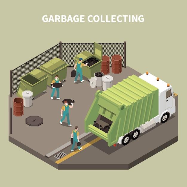 Composition De Recyclage Des Ordures Colorées Et Isométriques Avec Collecte Des Ordures Et Illustration Des Charognards Des Travailleurs Vecteur gratuit