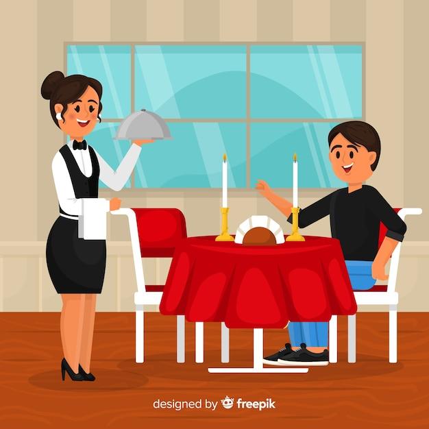Composition de restaurant élégant avec un design plat Vecteur gratuit