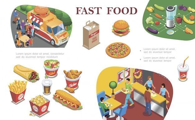 Composition De Restauration Rapide Isométrique Avec Street Food Fastfood Restaurant Fruits Légumes Hot-dog Frites Café Cola Pizza Burger Vecteur gratuit
