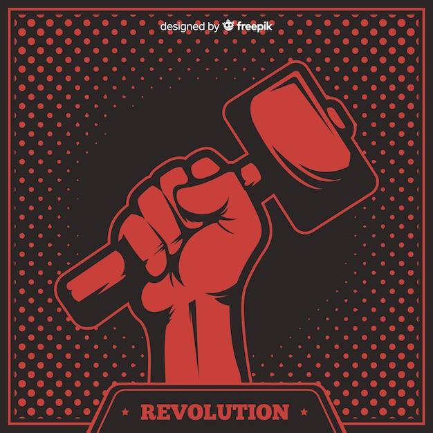 Composition de révolution classique avec style grunge Vecteur gratuit