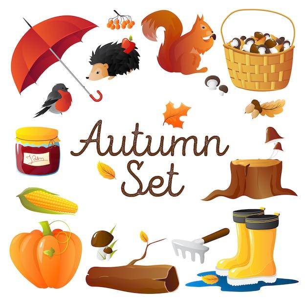 Composition ronde d'attributs saisonniers d'automne avec un parapluie rouge Vecteur gratuit