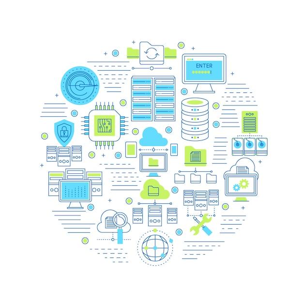 Composition Ronde Du Centre De Données Avec équipement Serveur Et Technologie Internet Du Système De Sécurité Et Service Cloud Vecteur gratuit