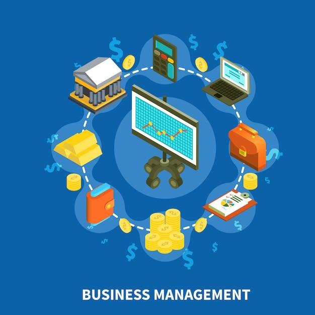 Composition ronde isométrique de gestion commerciale Vecteur gratuit