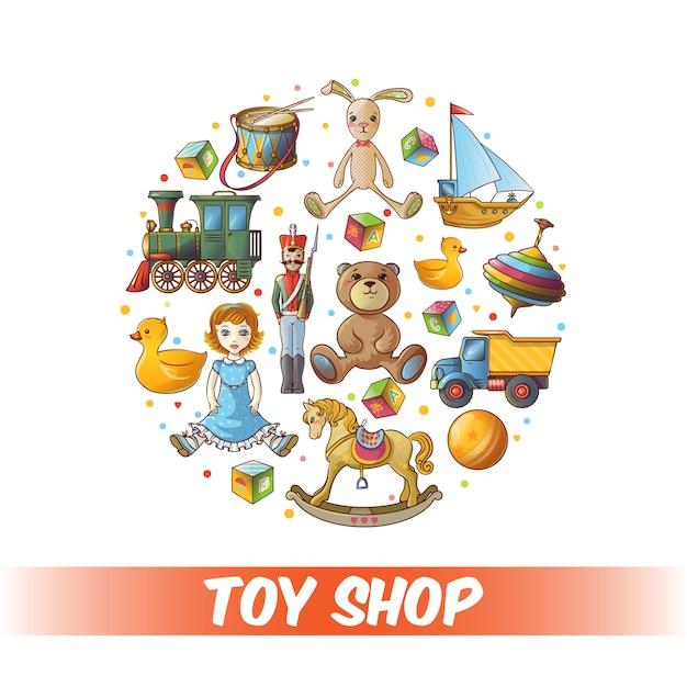 Composition Ronde De Jouets Pour Enfants Vecteur gratuit