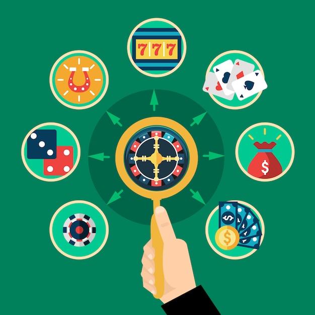 Composition de roulette de casino à la main plate ronde Vecteur Premium