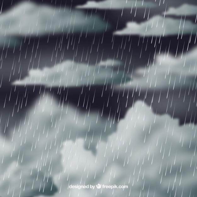 Composition de saison de mousson classique avec un design réaliste Vecteur gratuit