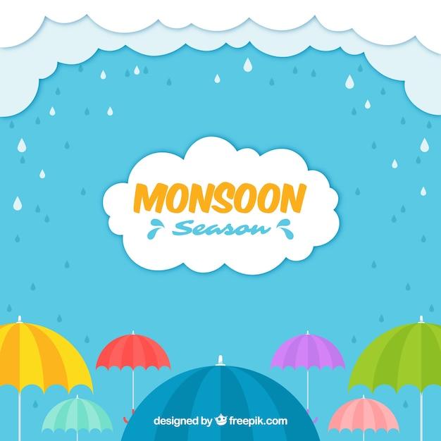 Composition de la saison de la mousson avec un design plat Vecteur gratuit