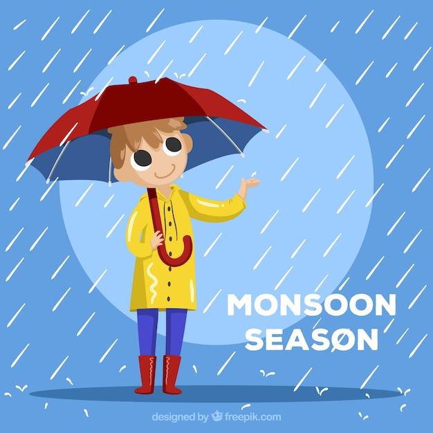 Composition De La Saison De La Mousson Avec Un Design Plat Vecteur Premium