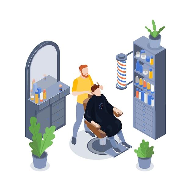 Composition De Salon De Coiffure Isométrique Avec Un Styliste Masculin Et Son Client Ayant Les Cheveux Coupés Vecteur gratuit