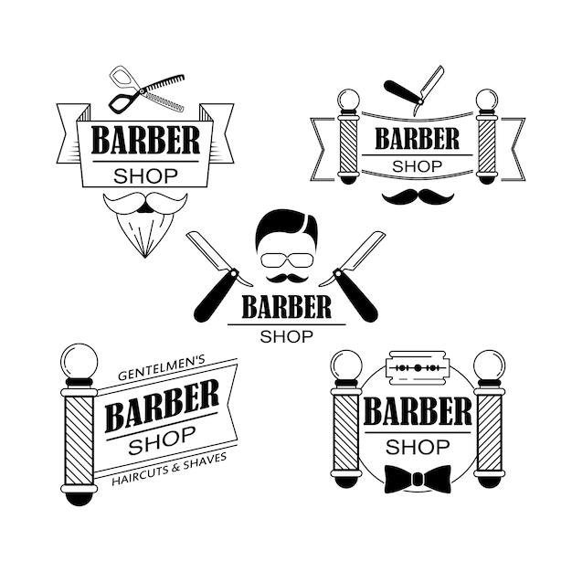 Composition de la série d'icônes pour le salon de coiffure. Vecteur gratuit