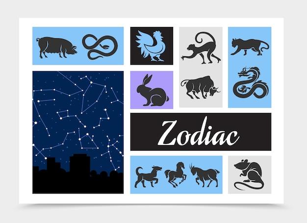 Composition De Signes Du Zodiaque Chinois Vintage Vecteur gratuit