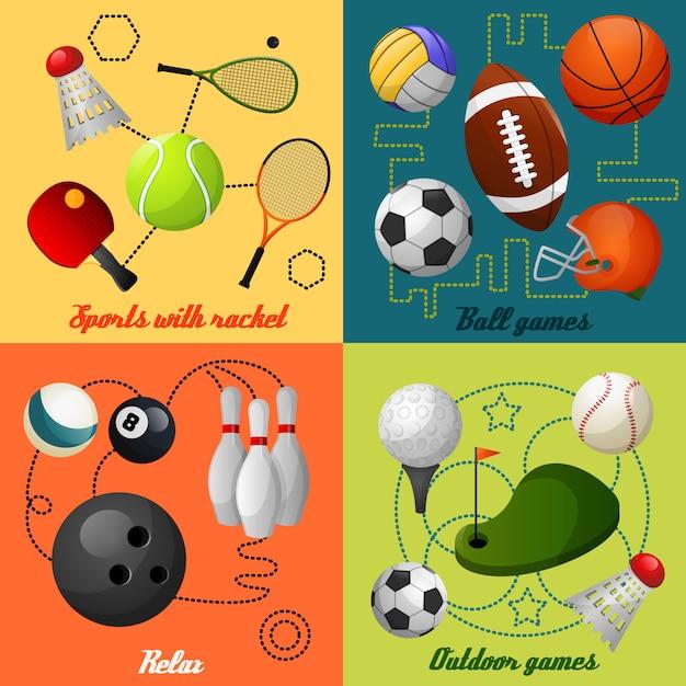 Composition De Sport 4 Icônes Plat Vecteur gratuit