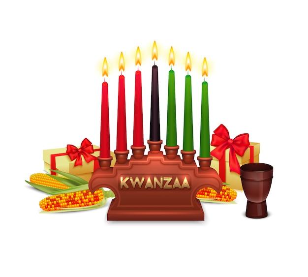 Composition de symboles de célébration de vacances de kwanzaa Vecteur gratuit