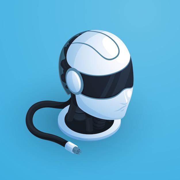 Composition de tête de robot avec un casque noir et blanc de style salut tech avec des écouteurs et illustration vectorielle de fil débranché Vecteur gratuit