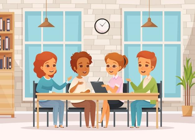 Composition De Thérapie De Groupe De Dessin Animé Coloré Avec Des Adolescents Sur Des Réunions De Psychologie En Classe Vecteur gratuit