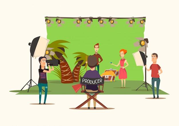 Composition de tournage de film de situations chanceuses avec la scénographie du film imitant le paysage de l'île au trésor avec illustration vectorielle unité de production Vecteur gratuit