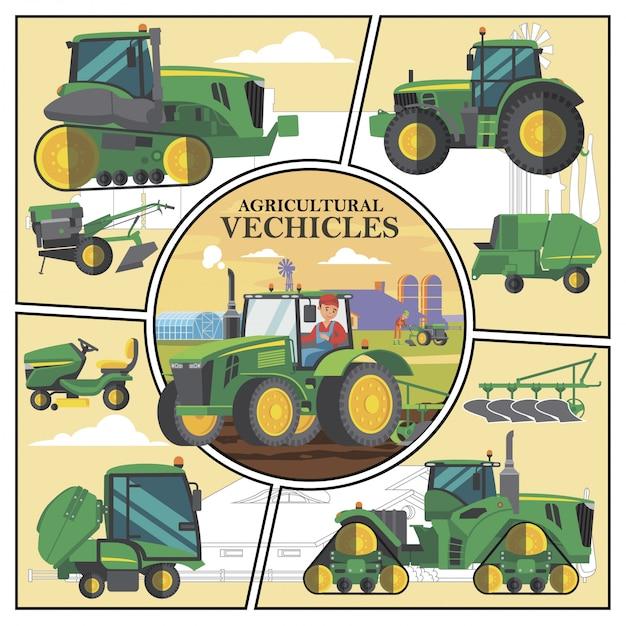 Composition De Transport Agricole Plat Avec Des Véhicules Agricoles Verts Et Un Agriculteur Conduisant Un Tracteur Avec Charrue Sur Terrain Vecteur gratuit
