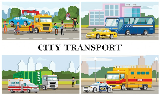 Composition De Transport Urbain Plat Avec Taxi Ambulance Voitures De Police Bus Incendie Des Ordures Et Dépanneuses Vecteur gratuit