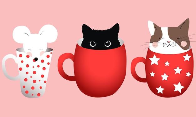 Composition De Trois Tasses Avec Des Chats Et Une Souris à L'intérieur. Vecteur gratuit