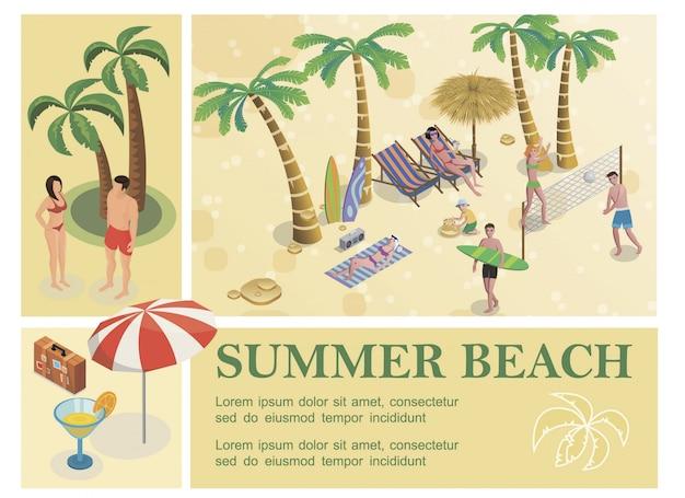 Composition De Vacances D'été Isométrique Avec Des Palmiers Bagages Parapluie Cocktail Personnes Reposent Sur La Plage Tropicale Vecteur gratuit