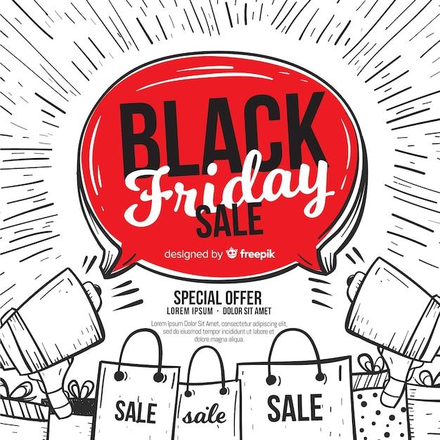 Composition de vendredi noir dessiné à la main moderne Vecteur gratuit