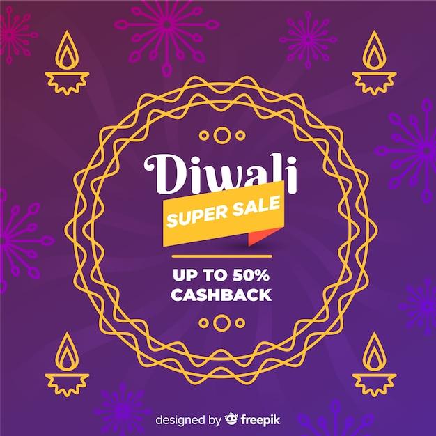 Composition de vente colorée diwali avec un design plat Vecteur gratuit