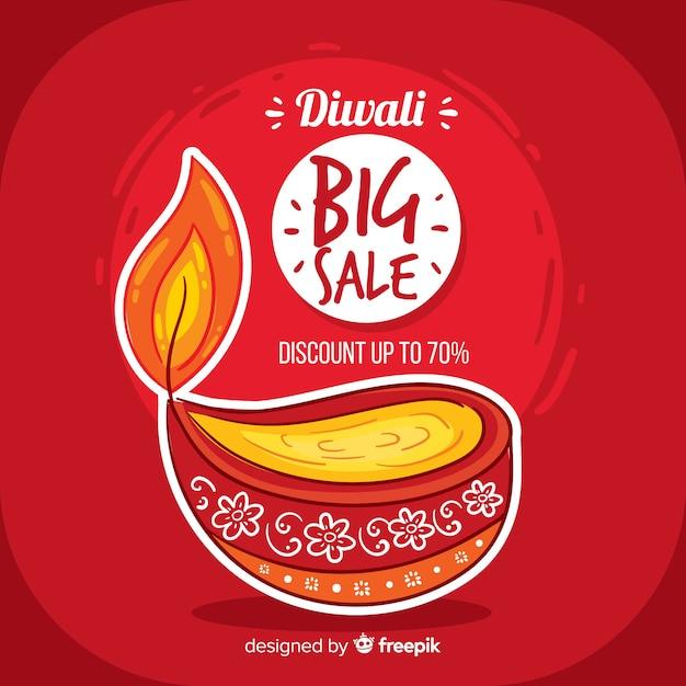 Composition de vente diwali dessiné main coloré Vecteur gratuit