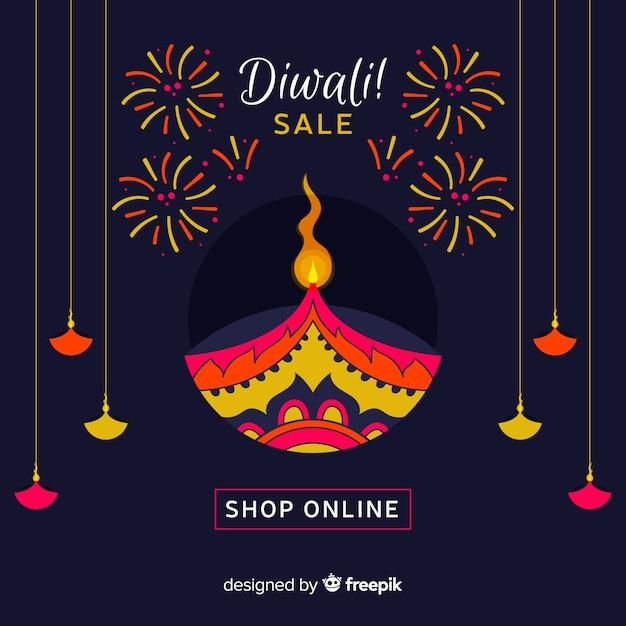 Composition de vente diwali moderne avec un design plat Vecteur gratuit