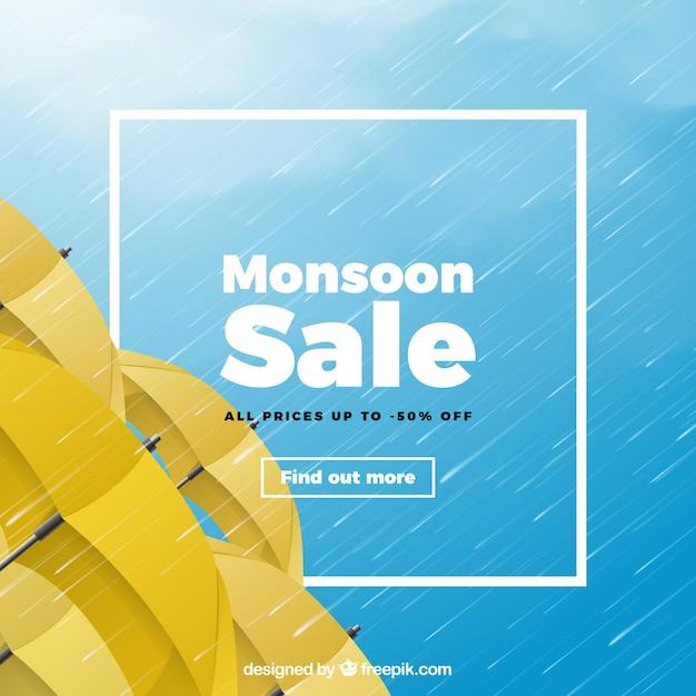 Composition de vente de mousson avec un design réaliste Vecteur gratuit