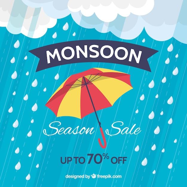 Composition de vente de saison de mousson avec design plat Vecteur gratuit