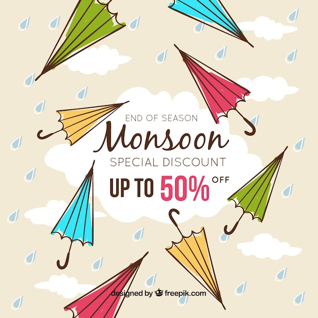 Composition de vente de saison de mousson dessinés à la main Vecteur gratuit