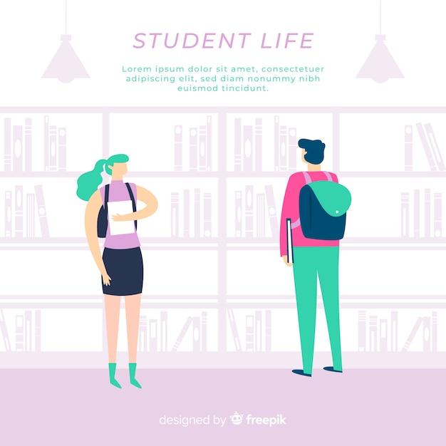 Composition de la vie étudiante moderne avec un design plat Vecteur gratuit