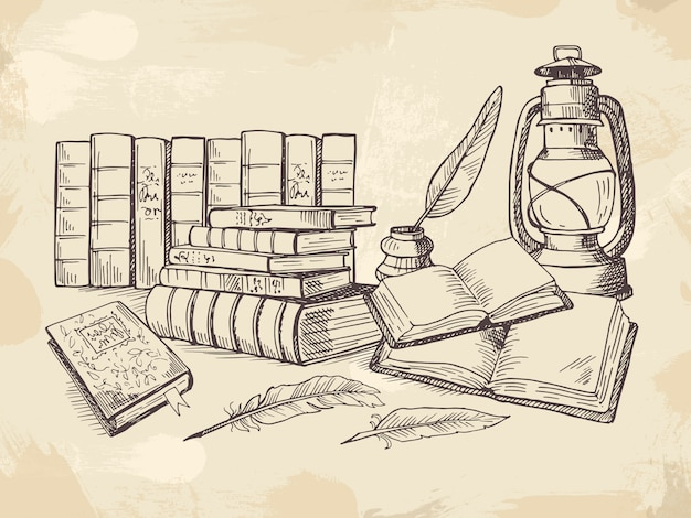 Composition de vieux livres d'écriture Vecteur Premium
