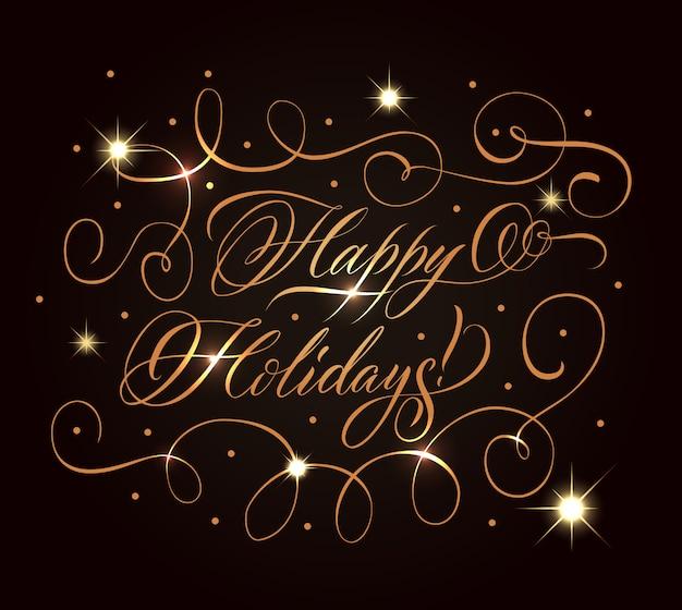 Composition De Voeux Golden Holidays Vecteur gratuit