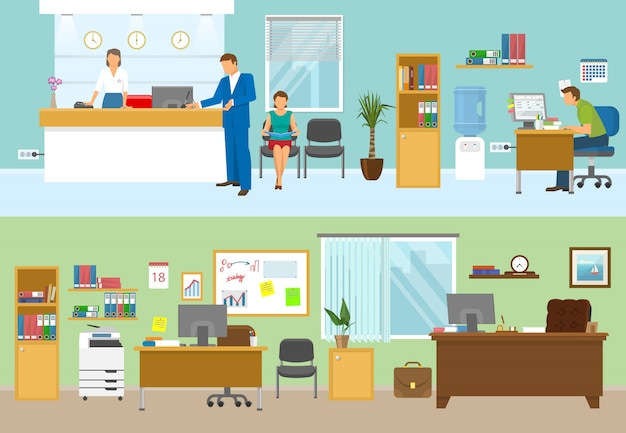 Compositions De Bureau Modernes Avec Des Gens Sur Les Lieux De Travail Et Personne Dans La Pièce Verte Isolée Illustration Vectorielle Vecteur gratuit