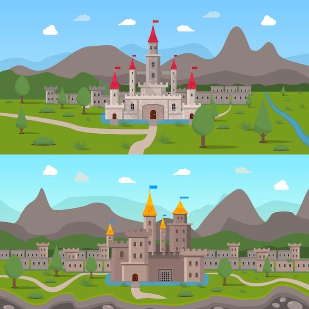 Compositions de châteaux antiques médiévaux Vecteur gratuit