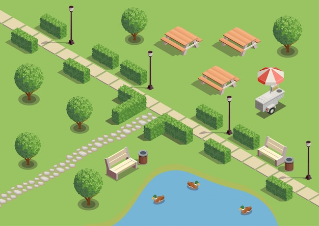 Compositions Isométriques De L'aire De Loisirs Du Parc De La Ville Avec Des Canards D'étang De Chemin Vecteur gratuit