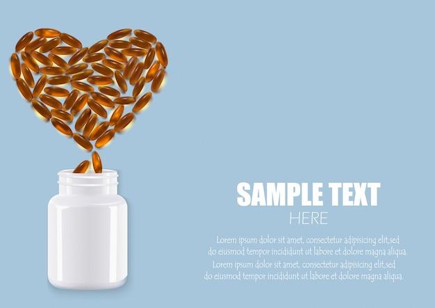 Comprimés comprimés capsules médicaments en plastique sous la forme d'une bouteille de coeur Vecteur Premium