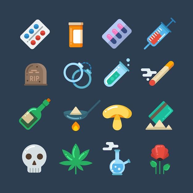 Comprimés de drogue illégale Vecteur Premium