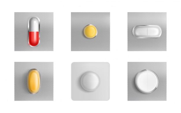 Comprimés Sous Blister, Comprimés Et Gélules De Médicaments Vecteur gratuit