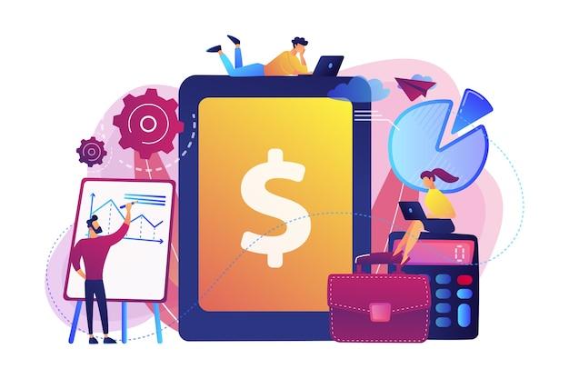 Les Comptables Travaillent Avec Un Logiciel De Transactions Financières Et Une Tablette. Comptabilité D'entreprise, Système De Comptabilité Informatique, Concept D'outils D'entreprise Intelligents. Vecteur gratuit