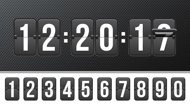 Compte à rebours avec chiffres, compteur d'horloge. Vecteur Premium