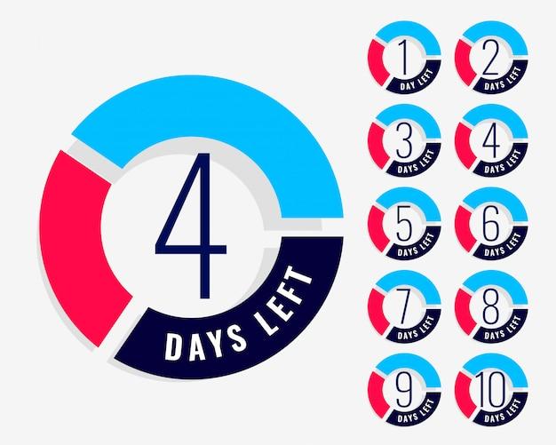 Compte à rebours indiquant le nombre de jours restants Vecteur gratuit