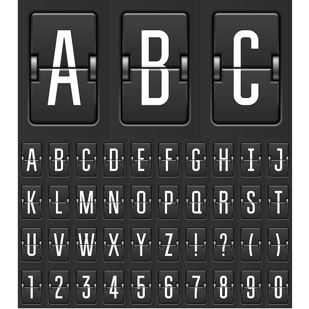 Compte à Rebours Mécanique - Calendrier Flip Ou Chiffres Et Lettres Du Tableau De Bord Du Jeu Vecteur Premium