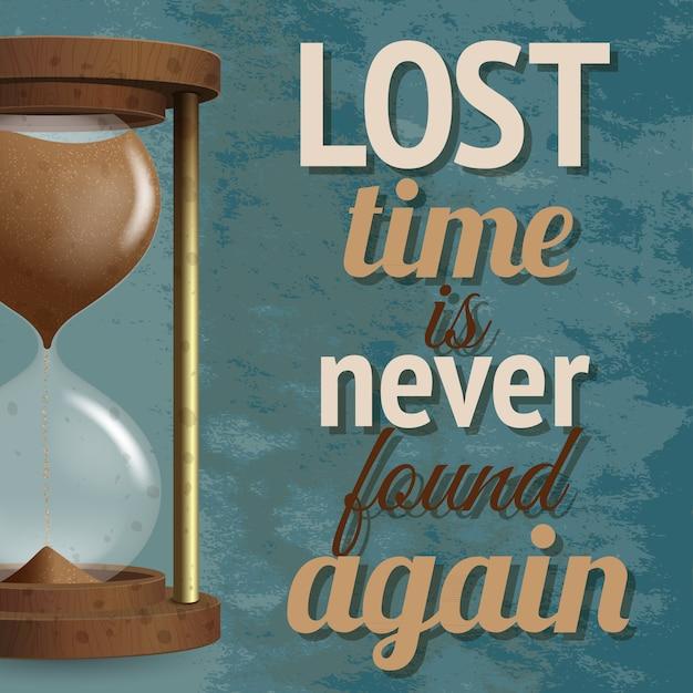 Le compte à rebours réaliste du chronomètre en sablier avec lettrage n'est jamais retrouvé Vecteur gratuit