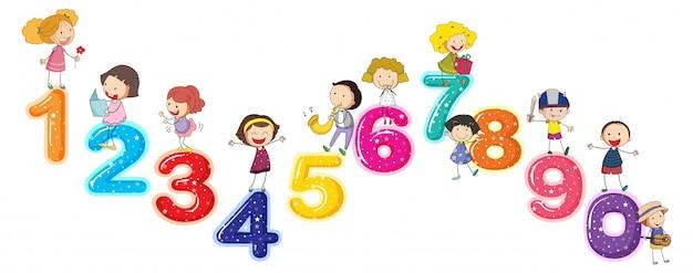 Compter Les Chiffres Avec Les Petits Enfants Vecteur gratuit