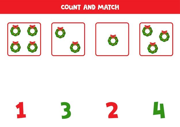 Compter Les Couronnes De Noël Et Assortir Avec Des Nombres Jeu De Mathématiques éducatif Pour Les Enfants Vecteur Premium